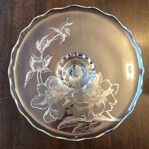 Vintage Rockwell Peony Silver Scalloped Cake Stand